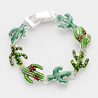 Lacquered cactus link magnetic bracelet