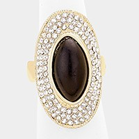 Crystal trim natural stone stretch ring