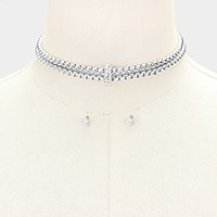 Crystal detail metal mesh choker necklace