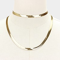 2 PCS - Metal omega chain choker + necklace