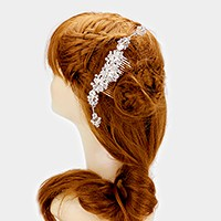 Crystal pave flowers hair comb