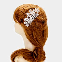 Crystal pave butterfly & flowers hair comb