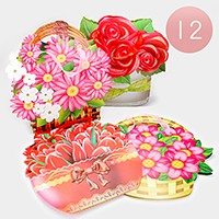 12 PCS - Flower basket ribbon handle gift bags