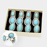 12 PCS - Howlite turquoise rings