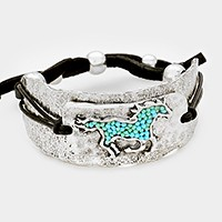 Beaded horse hammered metal faux leather cinch bracelet