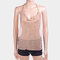 Crystal metal mesh camisole top front necklace