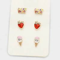 3 Pairs - Enamel icecream cone stud earrings