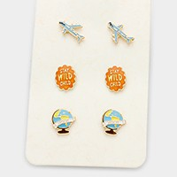 3 Pairs - Enamel air plane & globe stud earrings