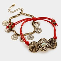 2 PCS - Antique metal & leather cinch bracelet + coin charm bracelet