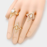 3 PCS - Crystal embellished rings