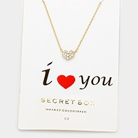 Secret box 14K gold dipped CZ heart pendant necklace