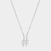 Textured matte metal hashtag pendant necklace