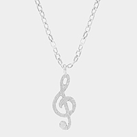 Textured matte metal treble clef pendant necklace