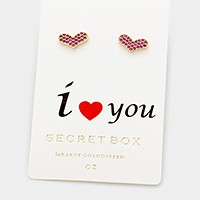 Secret box 14K gold dipped CZ heart stud earrings