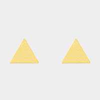 Textured matte metal triangle stud earrings
