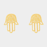 Textured matte metal hamsa hand stud earrings