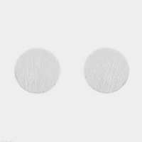 Textured matte metal circle stud earrings