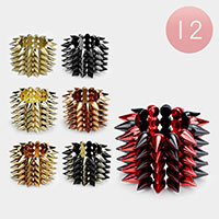 12 PCS - Metal Spike Stud Stretch Bracelets