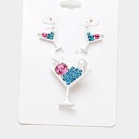 Crystal cocktail pendant set