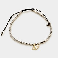 CZ evil eye charm beaded cinch bracelet
