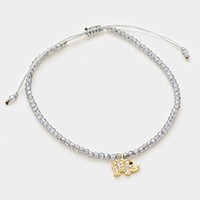 CZ elephant charm beaded cinch bracelet