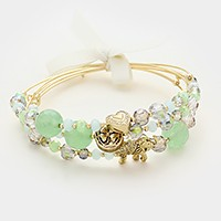 3 PCS - Elephant & clover glass bead stack bracelets