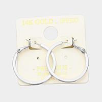 14K Gold Filled 1.2 inch Hypoallergenic Metal Hoop Earrings