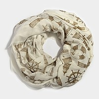 Nautical print infinity scarf