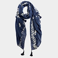 Embroidery flower oblong scarf with tassels