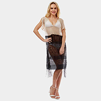 Sheer Lace Fringe Cover up Long Top