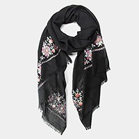 Embroidered flower oblong scarf