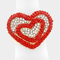 Pave heart stretch ring