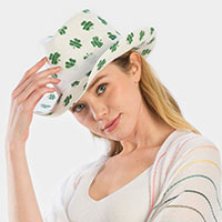 St. Patrick's day clover print paper straw fedora