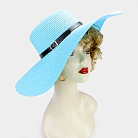 Faux leather buckle band paper straw floppy sun hat