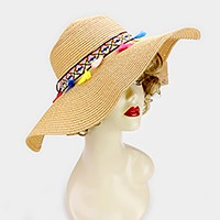 Rainbow tassel lined paper straw floppy sun hat