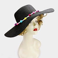 Rainbow pom pom lined paper straw floppy sun hat
