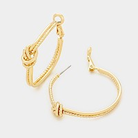 Metal knot hoop earrings