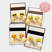 12 Sets - emoji stud & double sided metal ball earrings