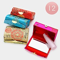 12 PCS - Oriental pattern jacquard lipstick cases with mirrors