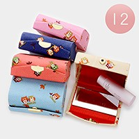 12 PCS - Owl print lipstick cases with mirrors