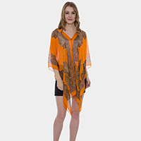 Button detail paisley print v-neck chiffon cape poncho