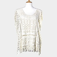 Crochet lace top with fringe