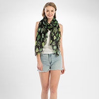 Happy St. Patrick's day clover print oblong scarf