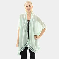 Sheer short sleeve loose cardigan with lace hem