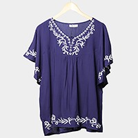Embroidery vine trim cotton top