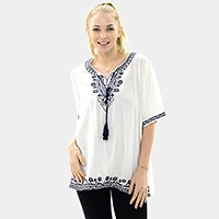 Embroidery vine trim cotton top with double tassel