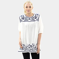 Embroidery vine cotton tunic top