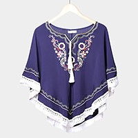 Embroidery vine cotton top with tassels
