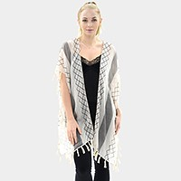 Geo stripe sheer poncho with tassels
