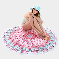 Moroccan _ multi-way round beach throw with tassel trim